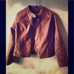 Brown Leather Jacket Size L